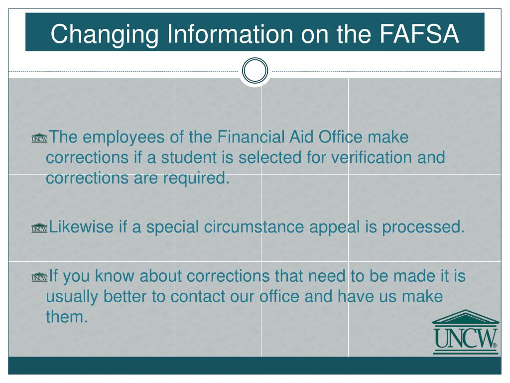 Changing Information on the FAFSA