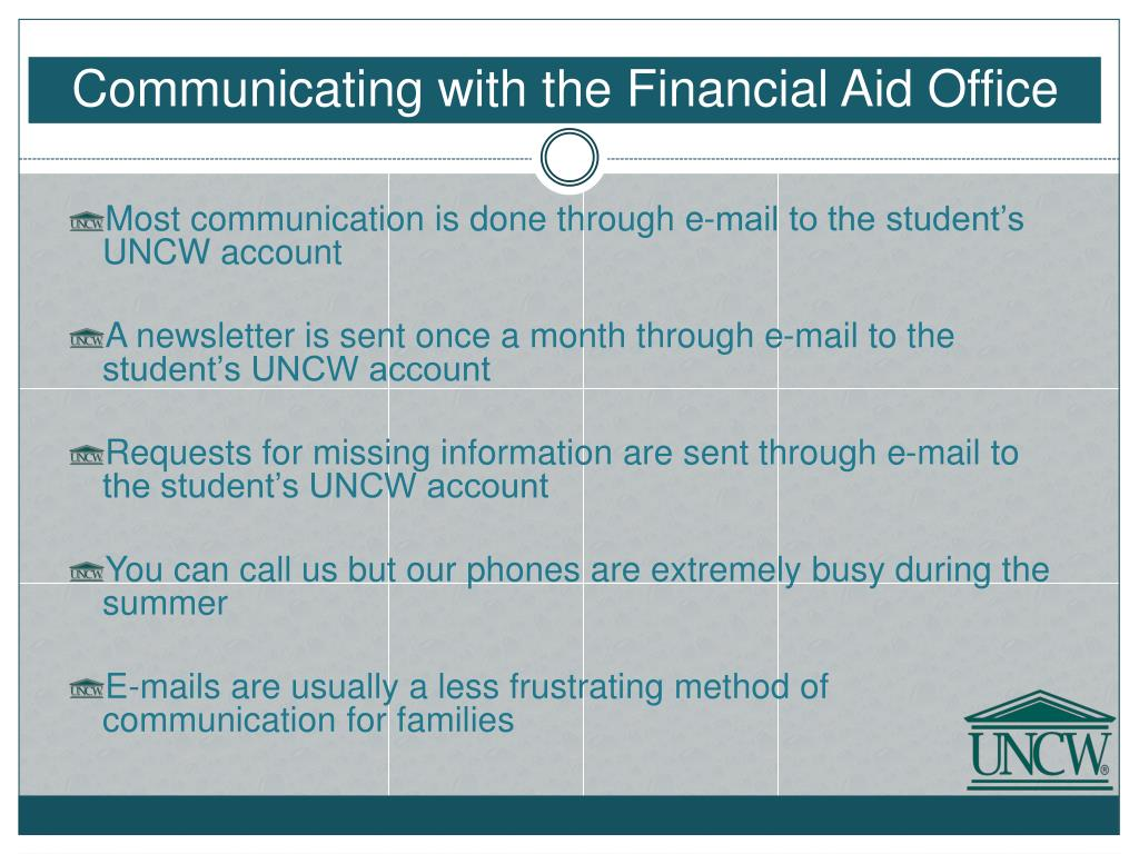 Communicating with the Financial Aid Office