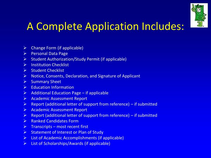 A complete application includes