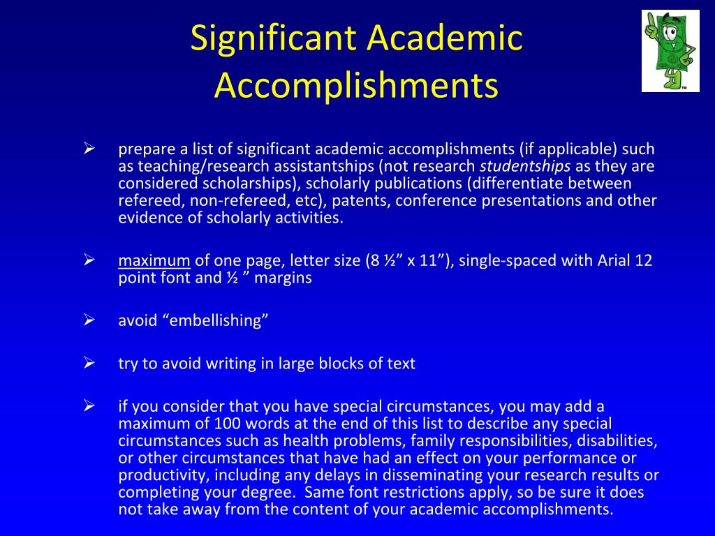 Significant Academic Accomplishments