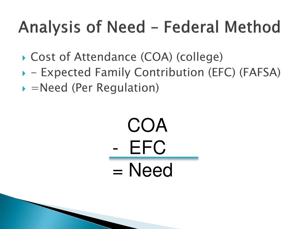 Analysis of Need – Federal Method