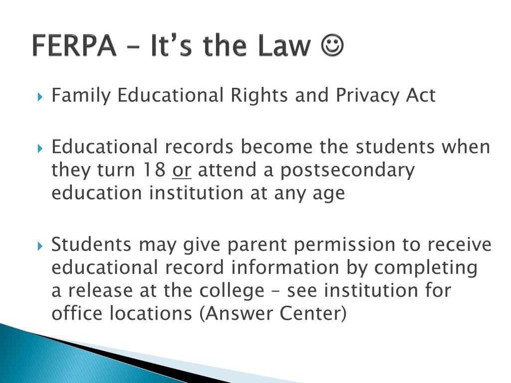FERPA – It's the Law