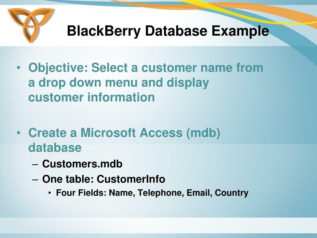 BlackBerry Database Example