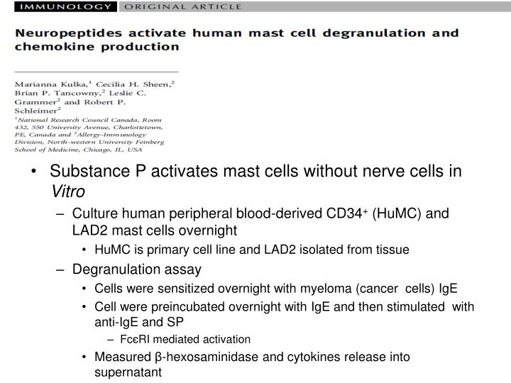Substance P activates mast cells without nerve cells in