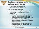 register signature keys using a proxy server
