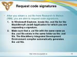 request code signatures