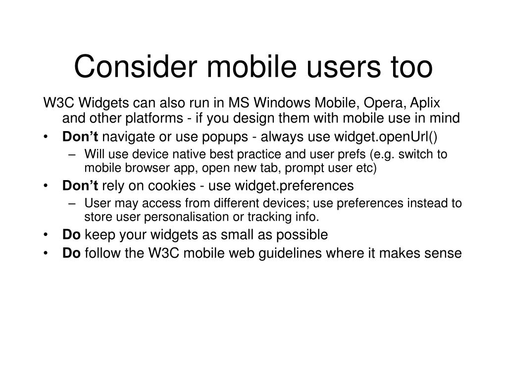 Consider mobile users too