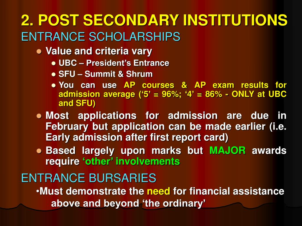 2. POST SECONDARY INSTITUTIONS