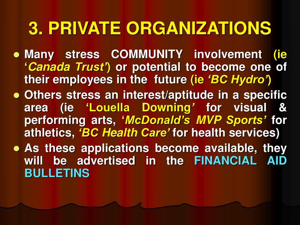 3. PRIVATE ORGANIZATIONS