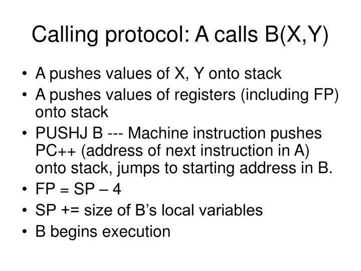 Calling protocol: A calls B(X,Y)