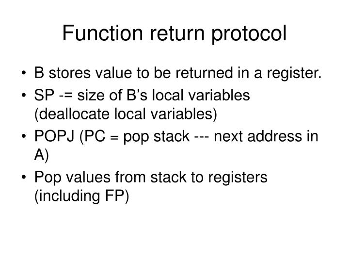 Function return protocol