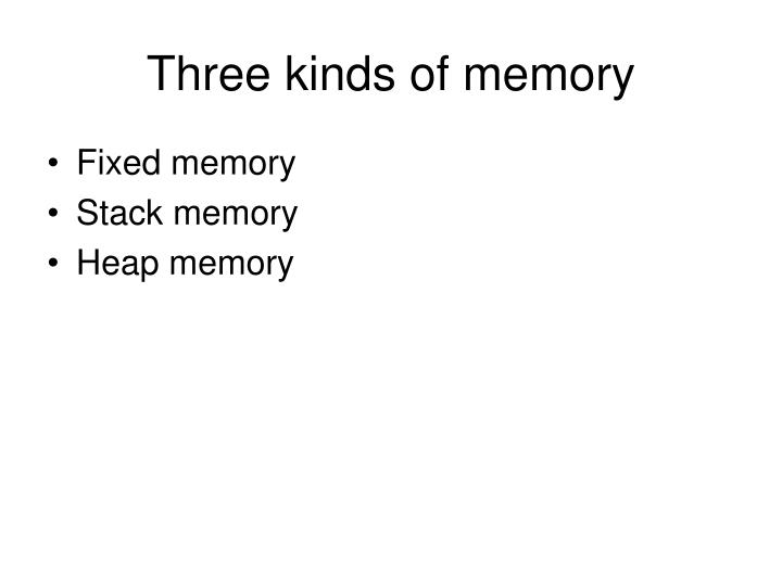 Three kinds of memory
