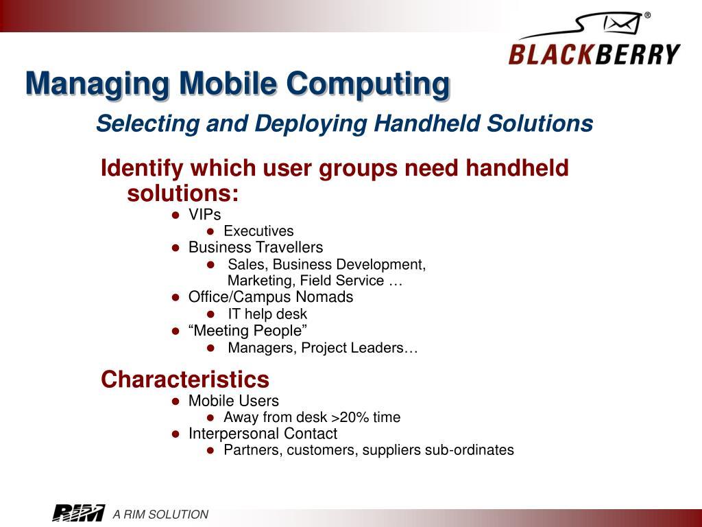 Managing Mobile Computing