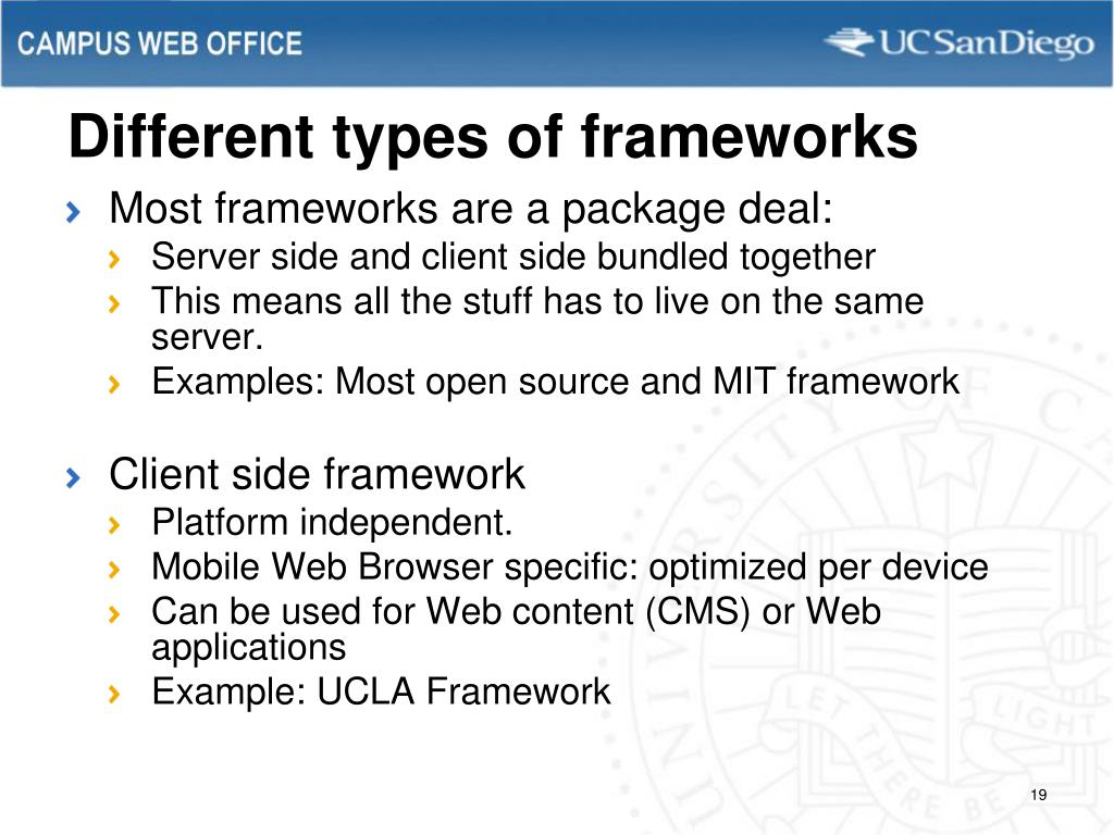 Different types of frameworks