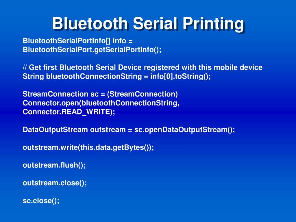 Bluetooth Serial Printing