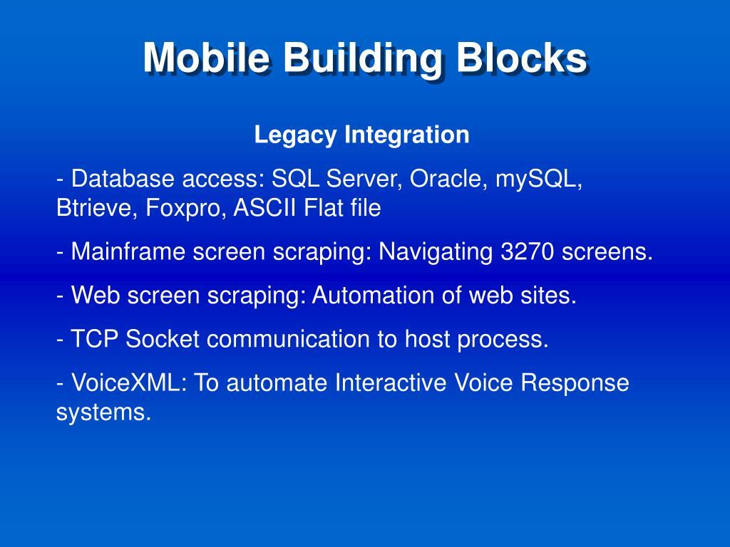 Mobile Building Blocks