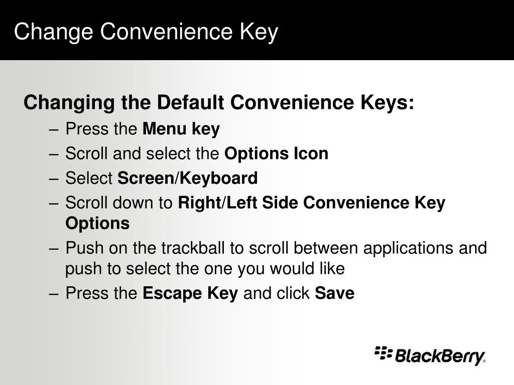 Change Convenience Key