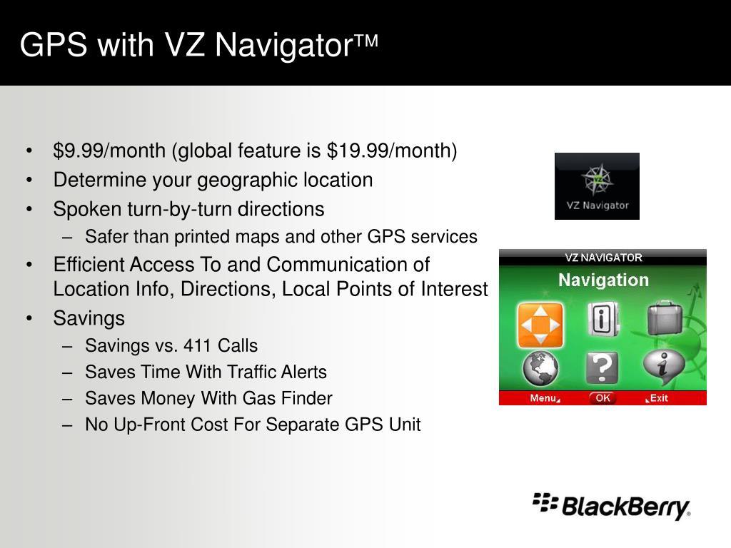GPS with VZ Navigator