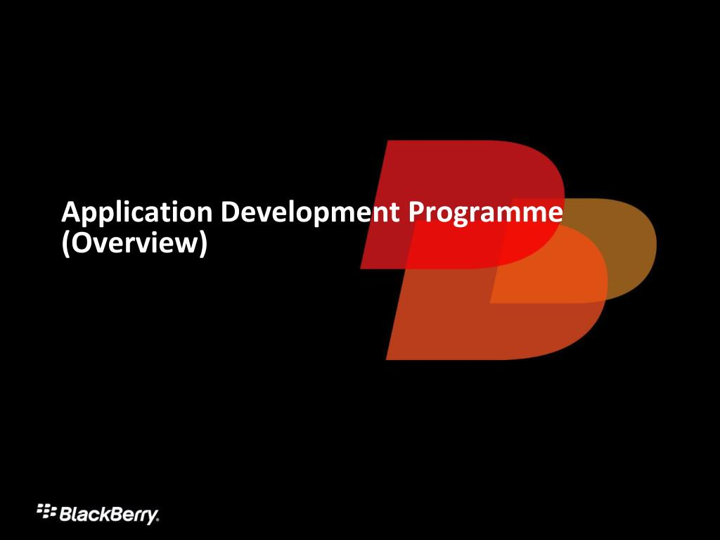 Application Development Programme (Overview)