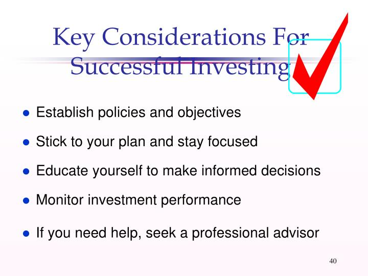 Key Considerations For Successful Investing
