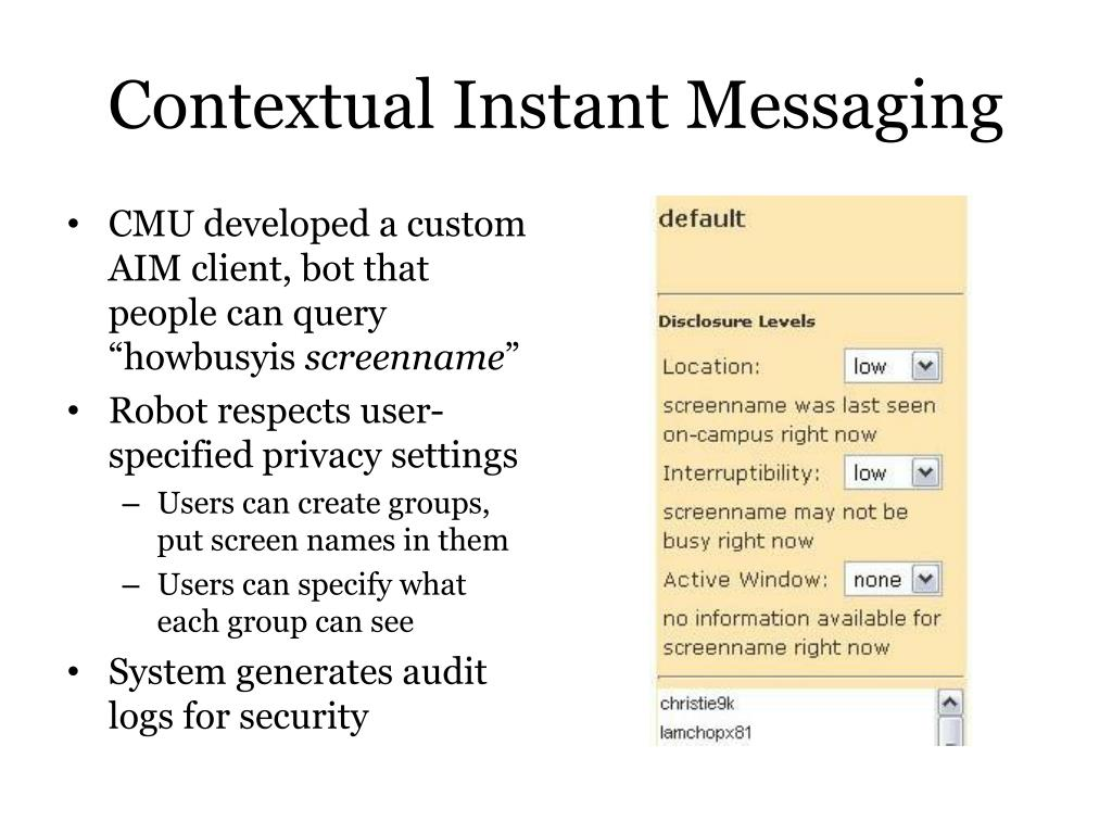 Contextual Instant Messaging