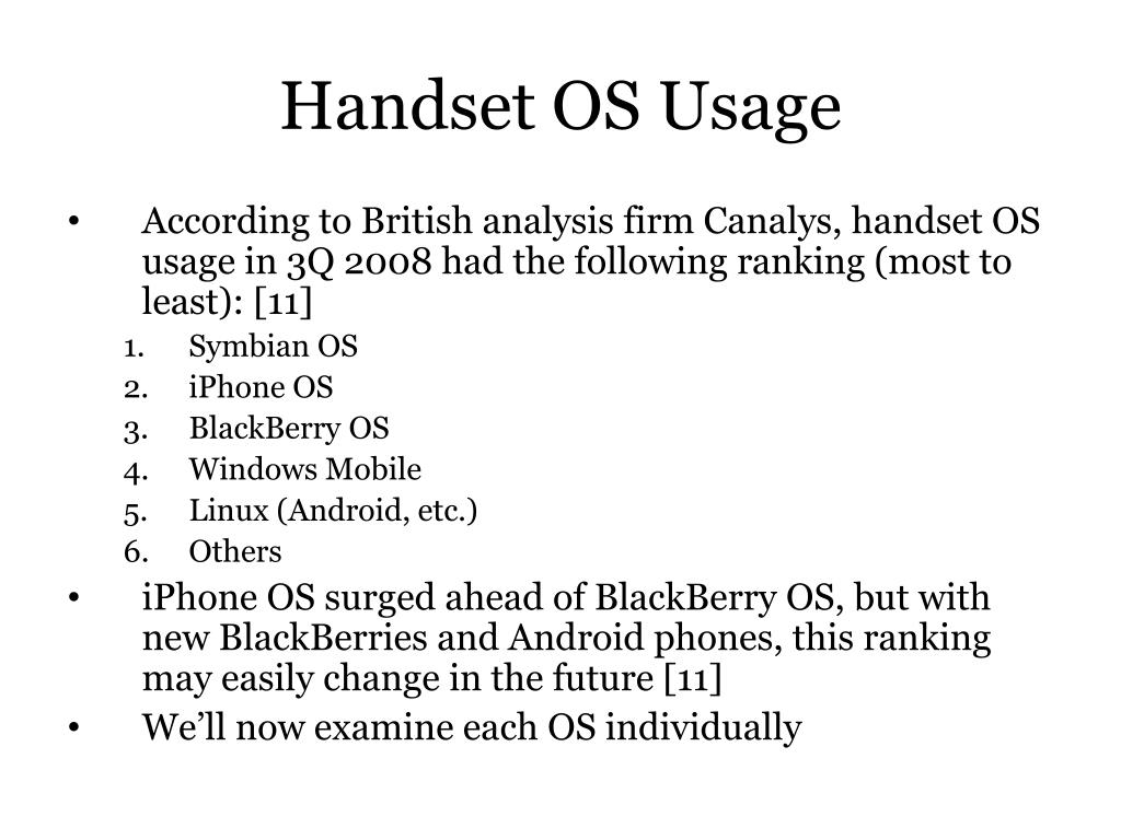 Handset OS Usage