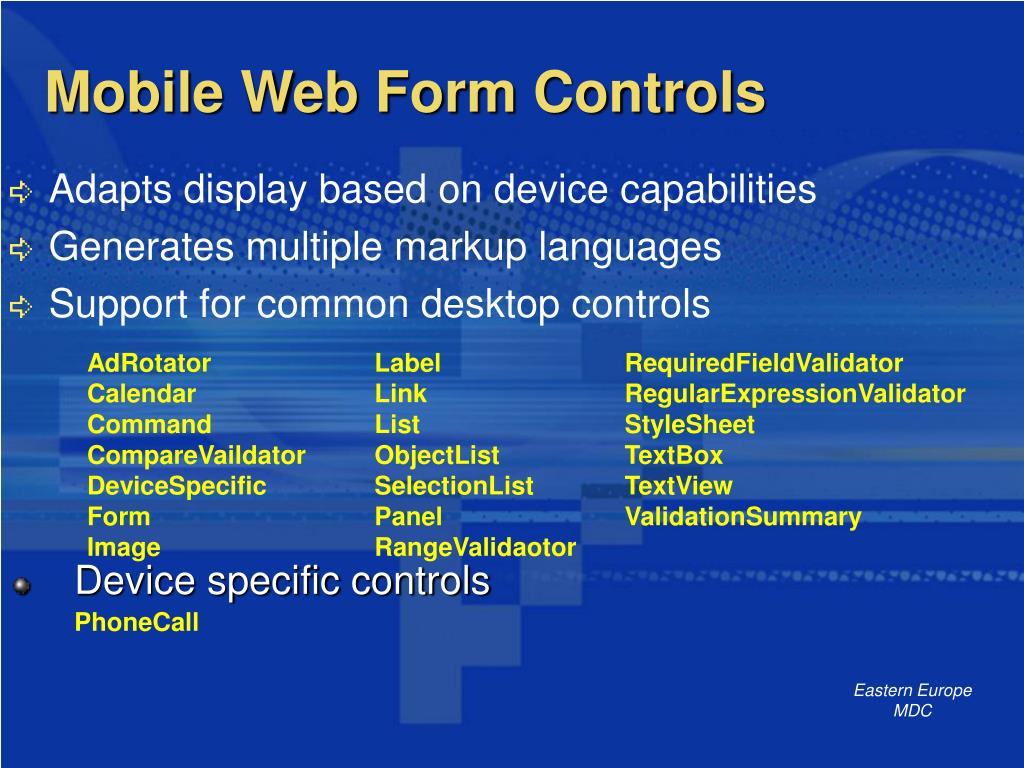 Mobile Web Form Controls