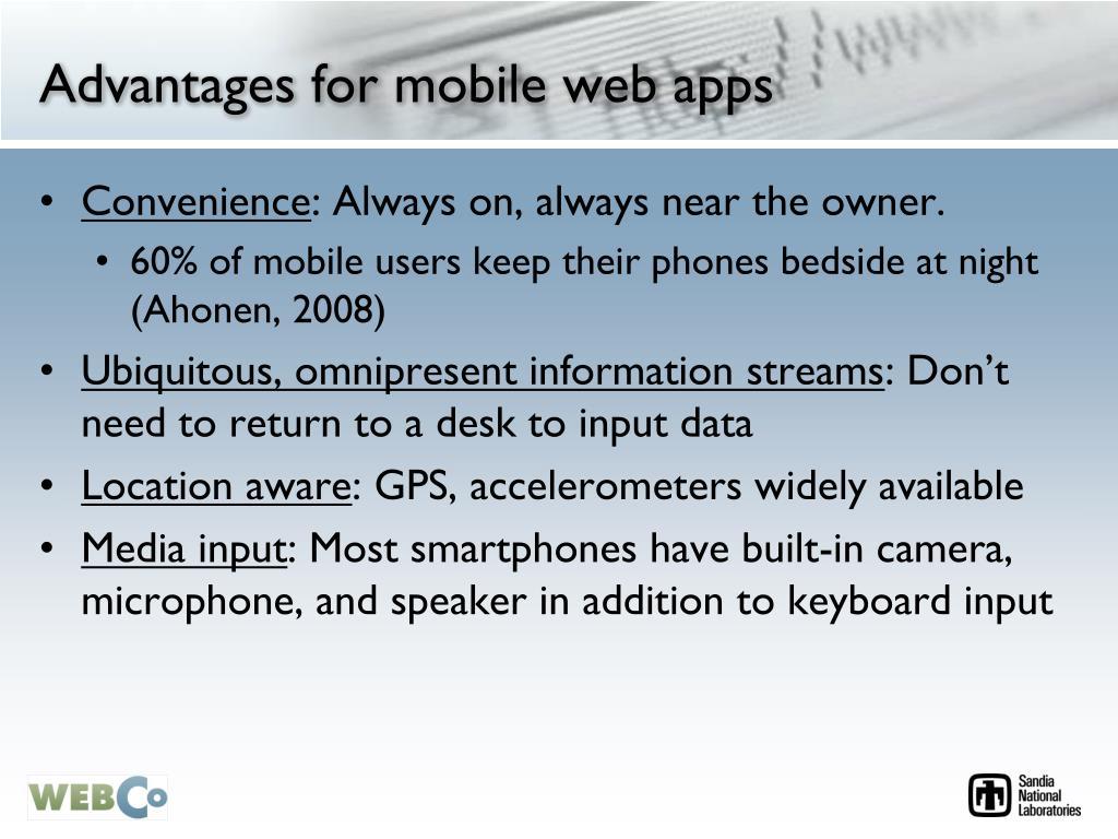 Advantages for mobile web apps