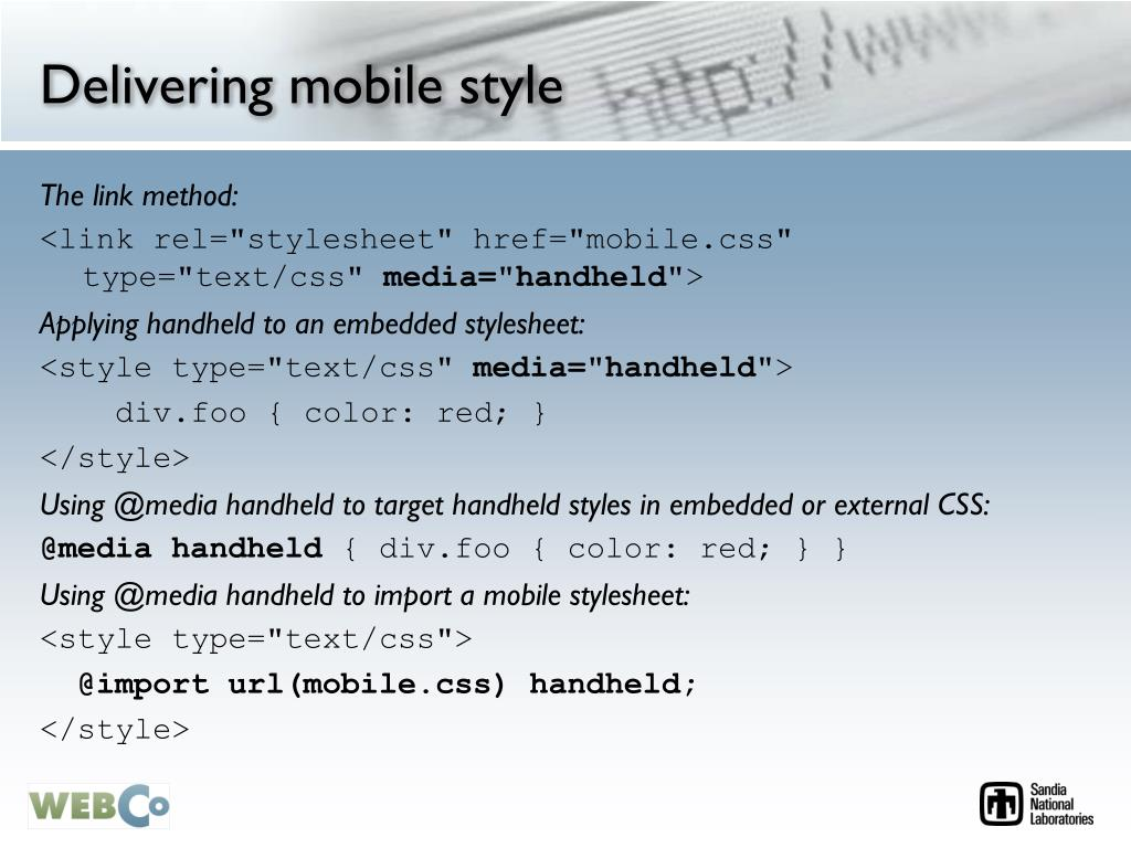 Delivering mobile style