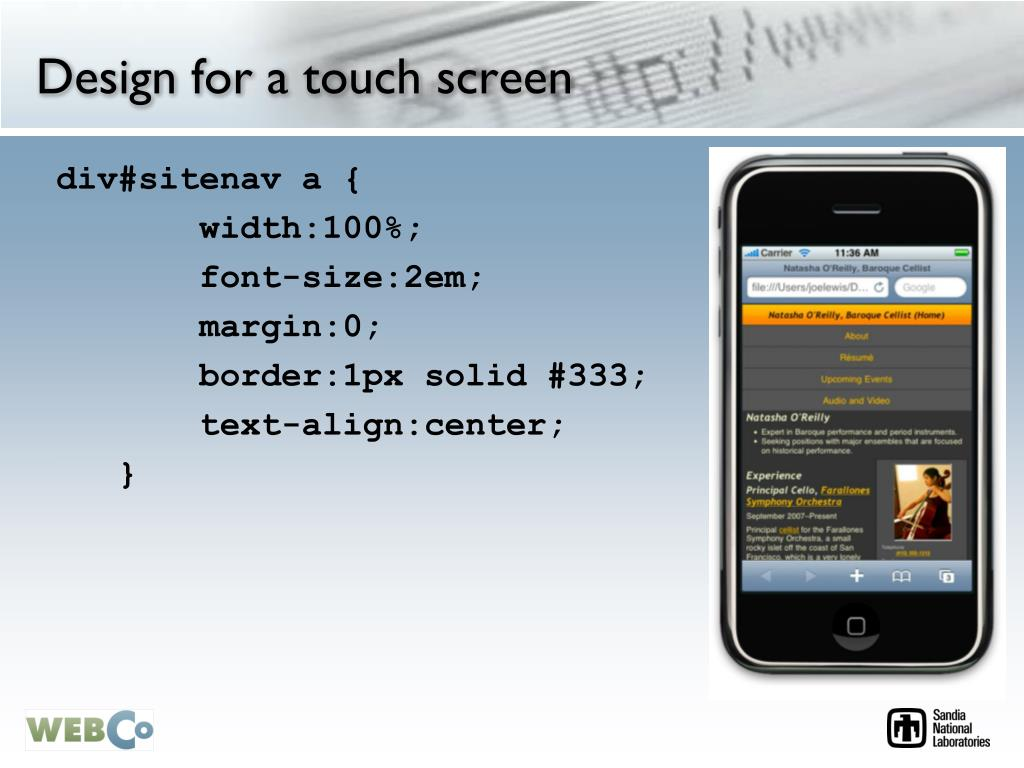 Design for a touch screen