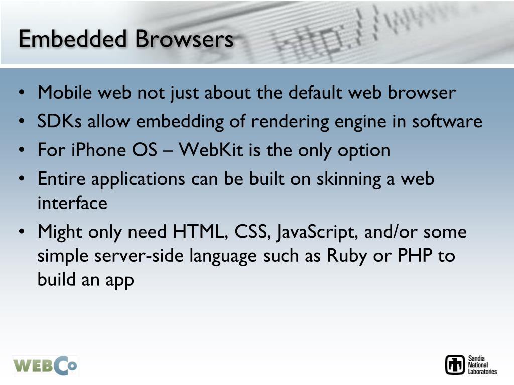 Embedded Browsers