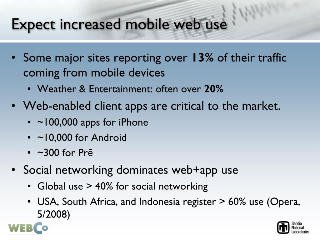 Expect increased mobile web use