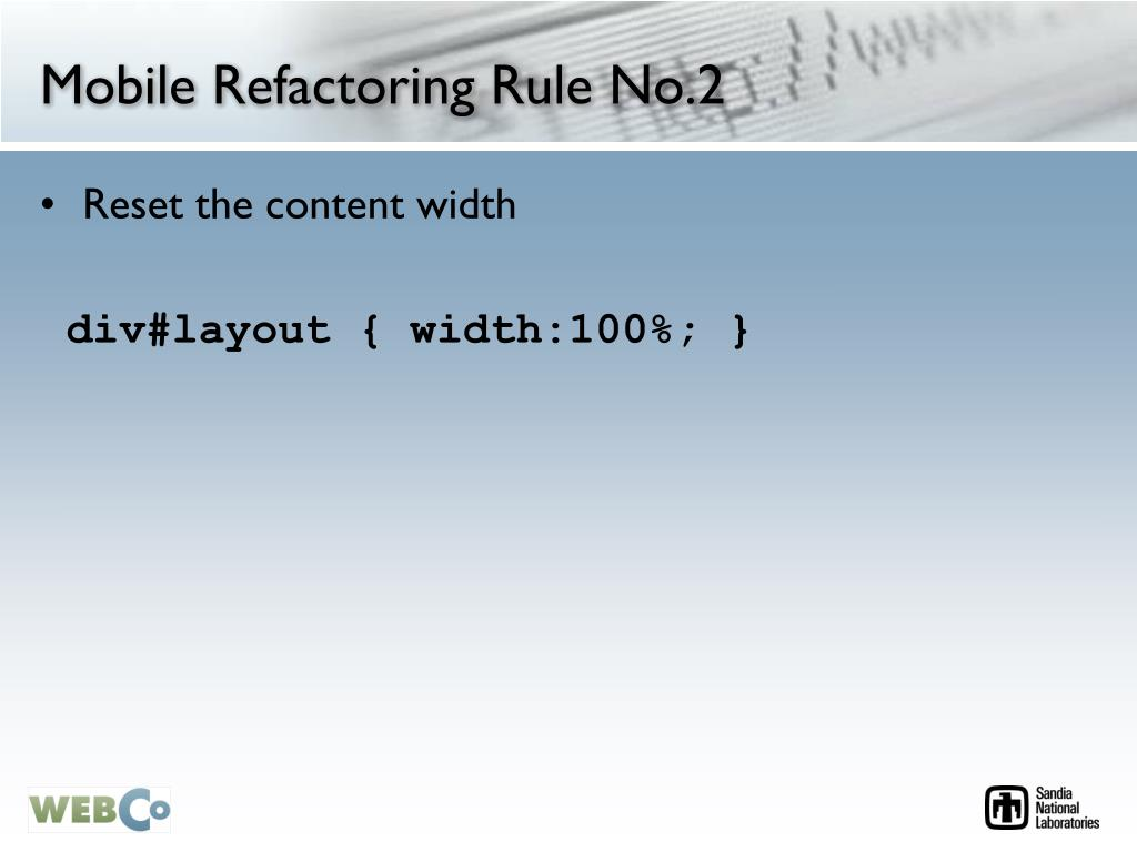 Mobile Refactoring Rule No.2