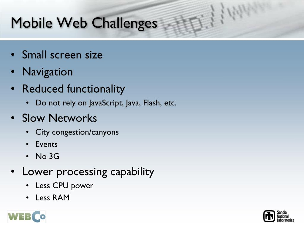 Mobile Web Challenges