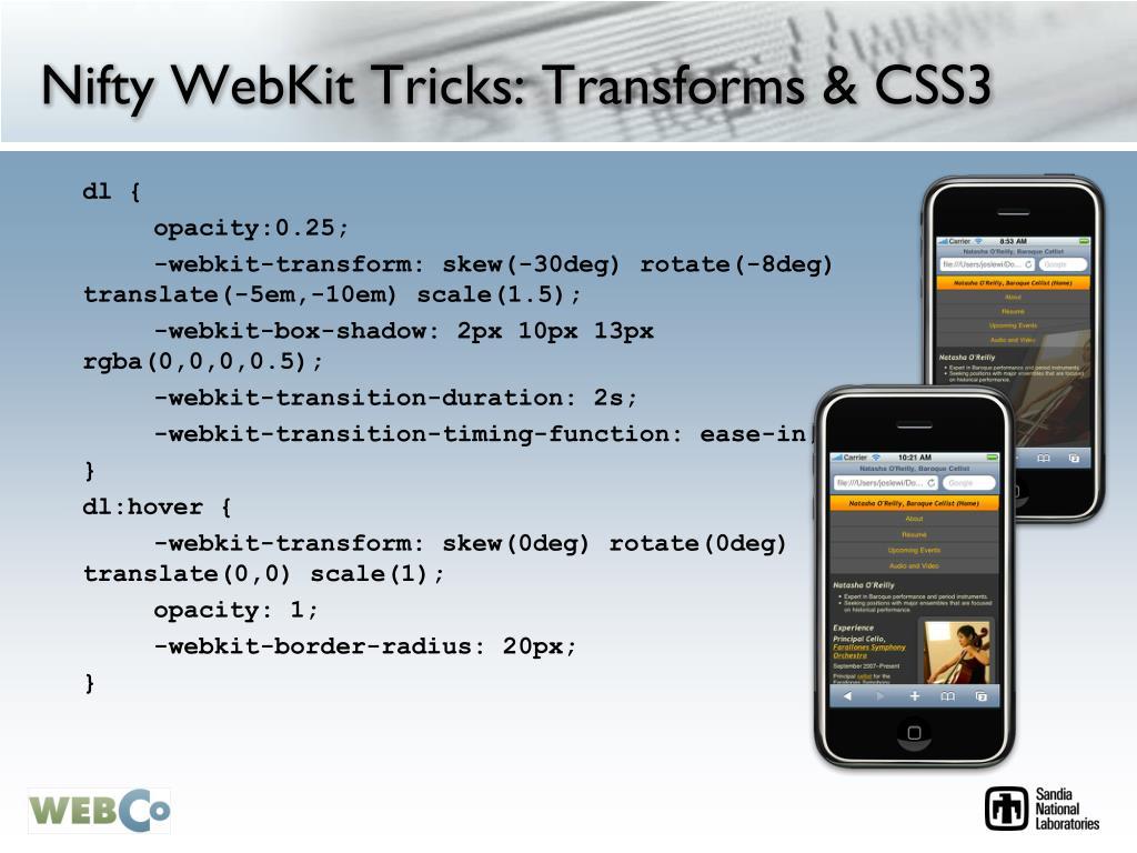 Nifty WebKit Tricks: Transforms & CSS3