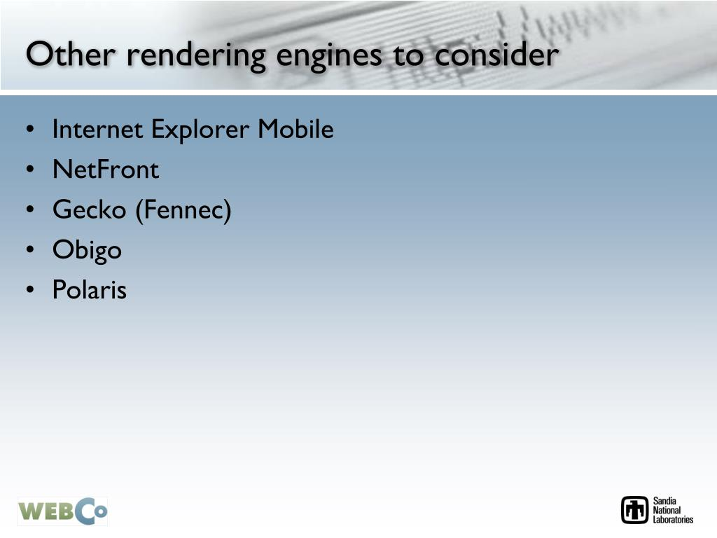 Other rendering engines to consider