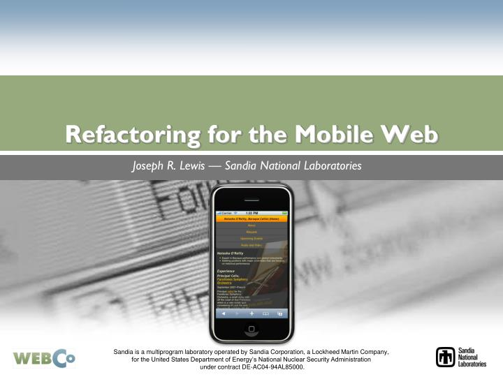 Refactoring for the mobile web l.jpg