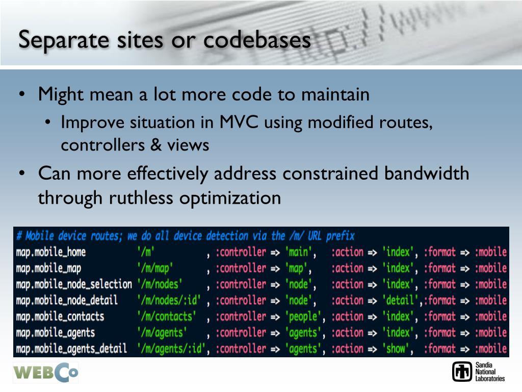 Separate sites or codebases