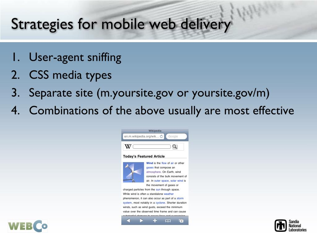 Strategies for mobile web delivery