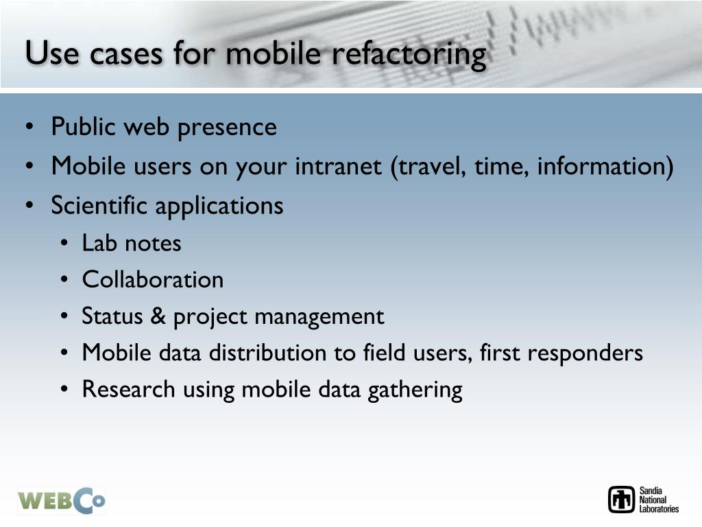Use cases for mobile refactoring
