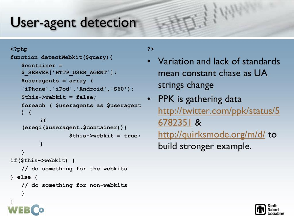 User-agent detection