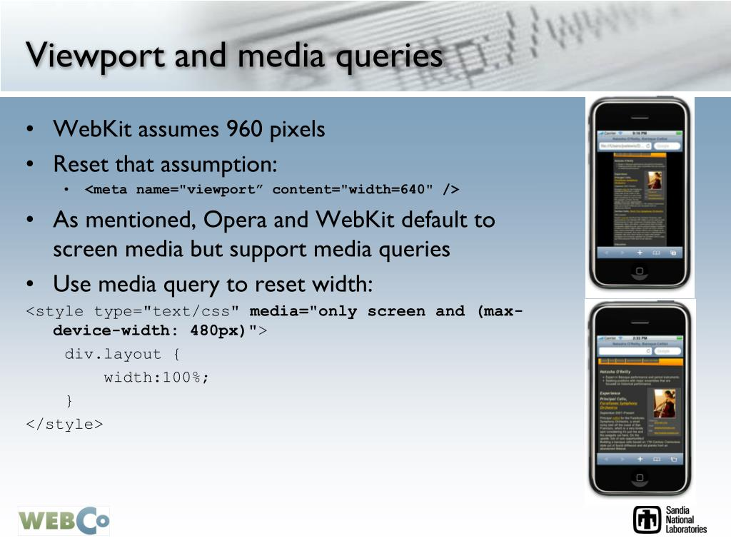 Viewport and media queries
