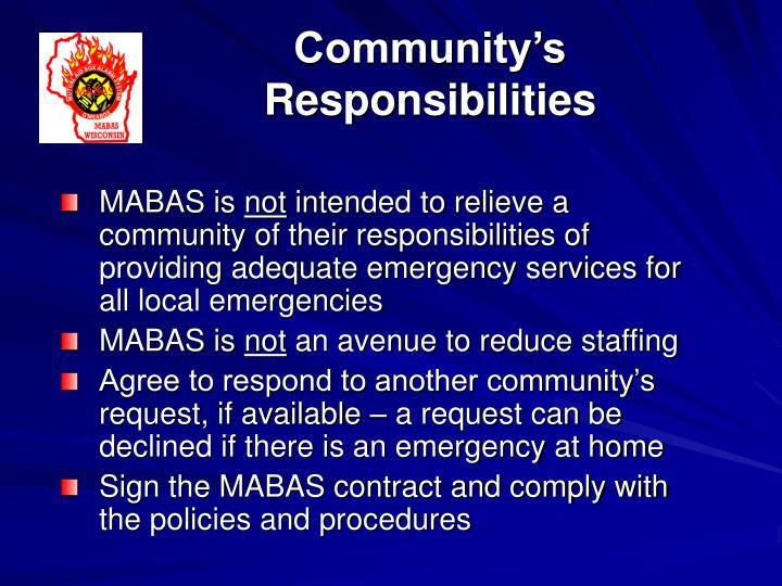 Community's Responsibilities