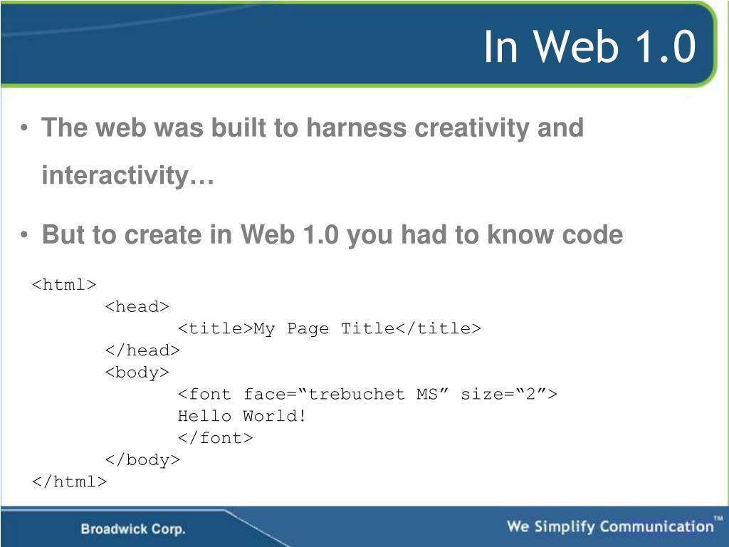 In Web 1.0