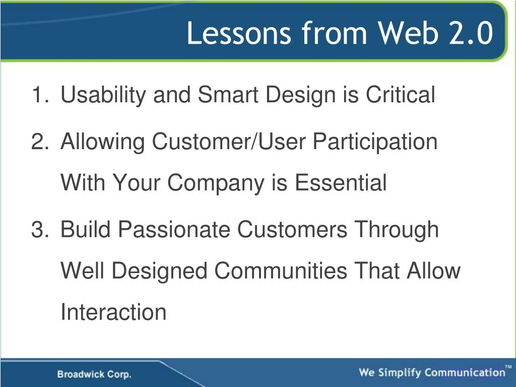 Lessons from Web 2.0