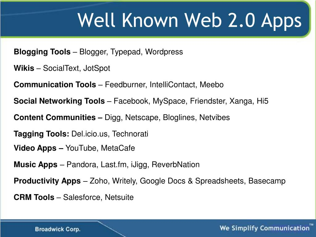 Well Known Web 2.0 Apps