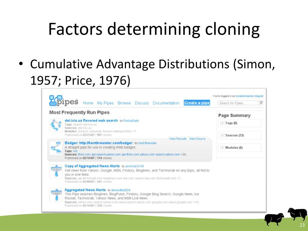 Factors determining cloning
