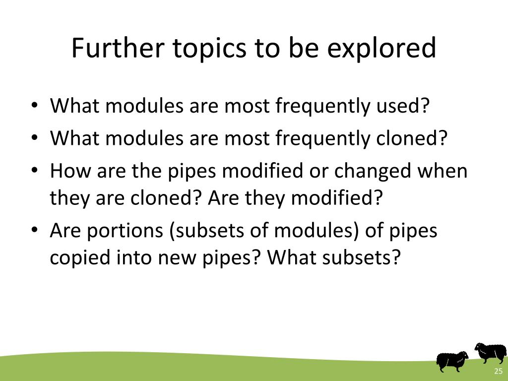 Further topics to be explored