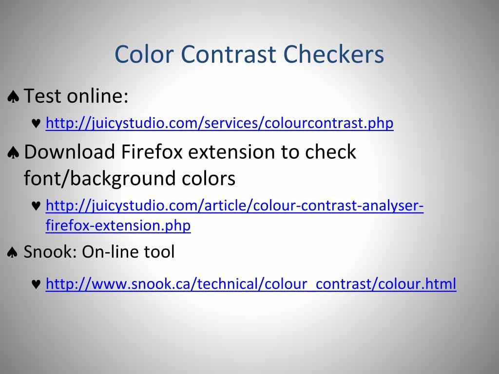 Color Contrast Checkers