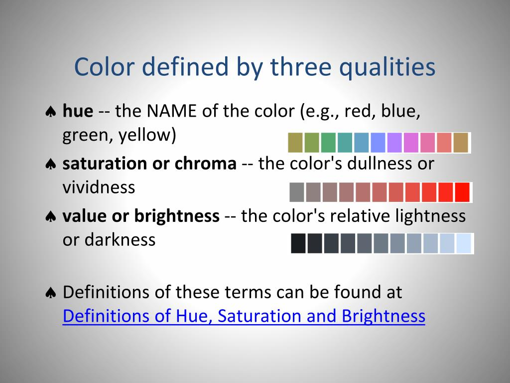 Color defined by three qualities